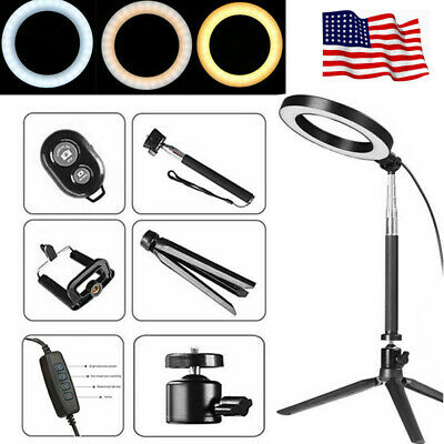 20cm Dimmable LED Ring Lights Kit Lamp with Stand for Makeup Camera Selfie US