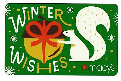 Macy's collectible gift card no value mint #41 Winter Wishes