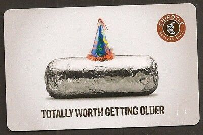 Chipotle no value collectible gift card mint #06 Birthday Hat