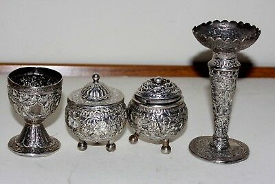 Antique Hand Chased Persian Solid Silver Four Items