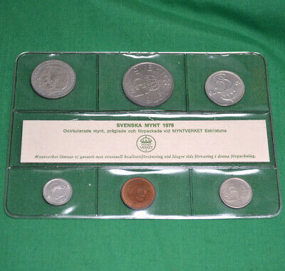 Swedish Complete Coin Set 1976 UNC