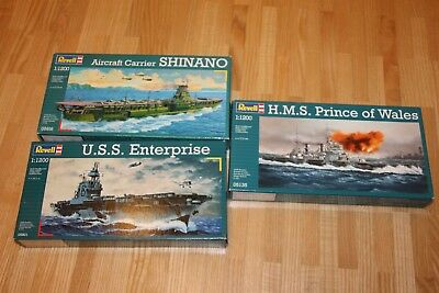 Revell H.M.S. Price of Wales+ U.S.S. Enterprise+Aircraft Carrier Shinano