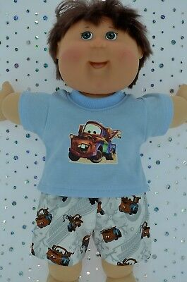 "Play n Wear Doll Clothes To Fit 16"" Cabbage Patch PATTERN SHORTS~BLUE T-SHIRT"