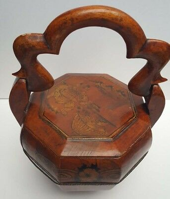 Chinese /Japanese antique wooden wedding basket signed to bottom and on lid