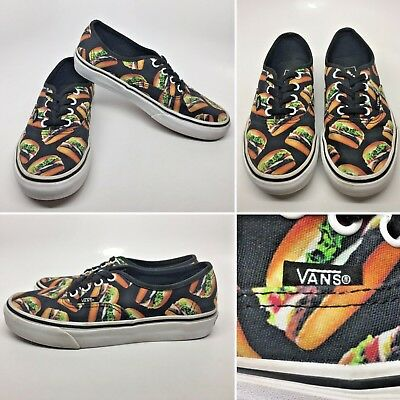 40db629359d VANS Late Night Authentic Hamburger Black Print Canvas Shoes Womens Sz 6  VGC!