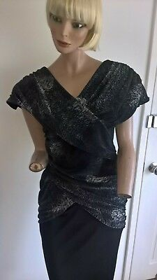 Vintage 80s Ricki Renie black & silver ruched prom cocktail dress size 10-12/S-M