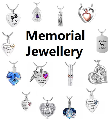 Cremation Jewellery Ashes Pendant Necklace Locket Urn Keepsake Memorial Pet Dog