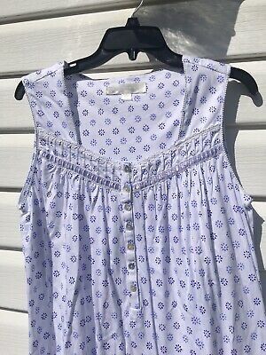 NEW Eileen West Blue Print Jersey Cotton Sleeveless Chemise Gown Small S
