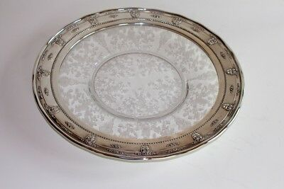Large Vintage Wallace Sterling Silver & Etched Glass Rose Point Tray/Platter