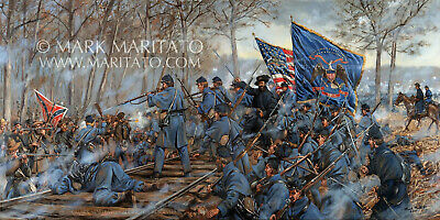 Original Maritato Oil Painting The Slaughter Pen Farm Battle of Fredericksburg