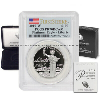 2019-W $100 Platinum Eagle PCGS PR70DCAM First Strike American Proof w/Box & CoA