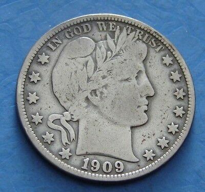 1909 - S Barber Silver Half Dollar - Free Shipping