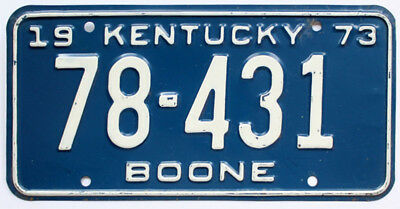 Vintage Kentucky 1973 Boone County License Plate, 78-431