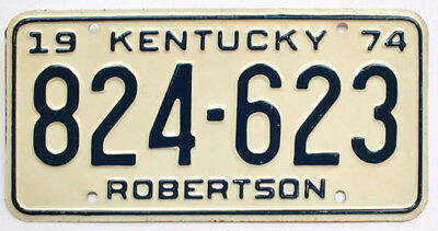 Vintage Kentucky 1974 Robertson County License Plate, 824-623, Nice Quality