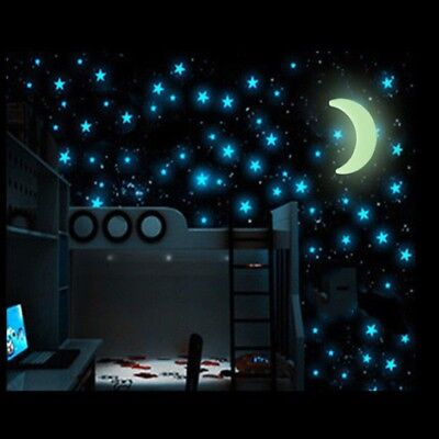 100pcs Glow Wall Stickers with1 pcs Moon Luminous Fluorescent Night Star Room