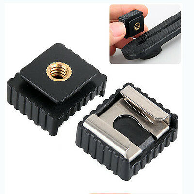 """Flash Hot Shoe Mount Adapter to 1/4"""" Thread for Studio Light Tripod Stand  JC"""