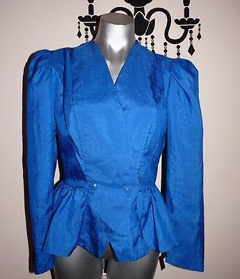 VINTAGE 80's AVANT GARDE HIGH ST SYDNEY ELECTRIC BLUE EVENING JACKET SIZE 10