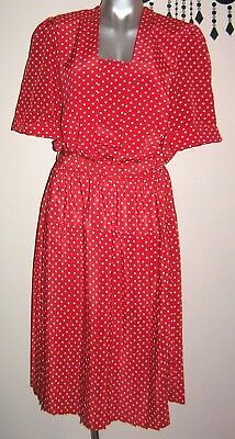 Vintage Rockabilly Red & White Polka Dot Pleated Dress Size 12 - 14