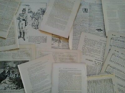 Antique vintage paper pages from Victorian era books 100 years old for art craft