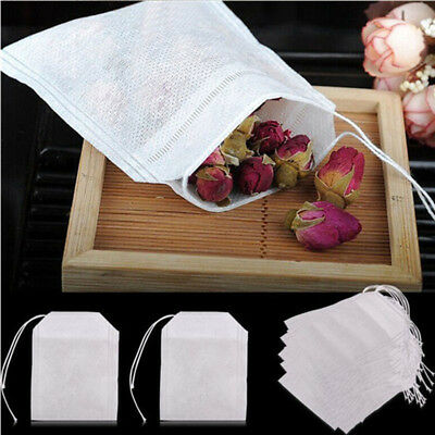 100x Non-Woven White Muslin Drawstring Empty Tea Bags Packing Bath Soap Spice