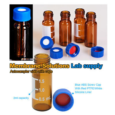 100 pcs Amber Sample Vials 2ml +Caps with Write-on Spot &Graduations 9-425 Type
