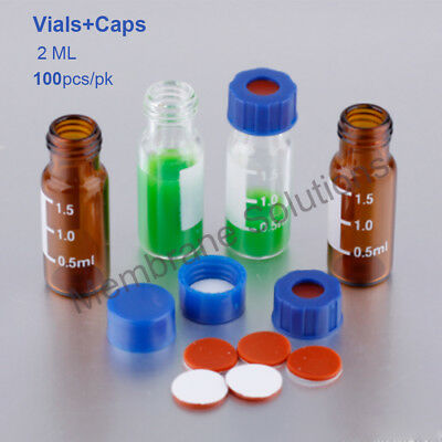 100pcs Screw Top HPLC GC Sample Vial 2ml With I-D Patch +Blue Polypropylene Cap