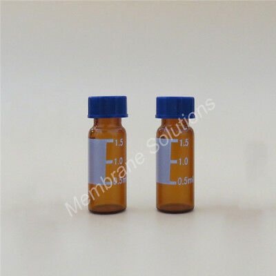 100Pcs 2ml 9-425 Empty Sample Vials Amber Glass Bottles Jar + Caps Screw Top