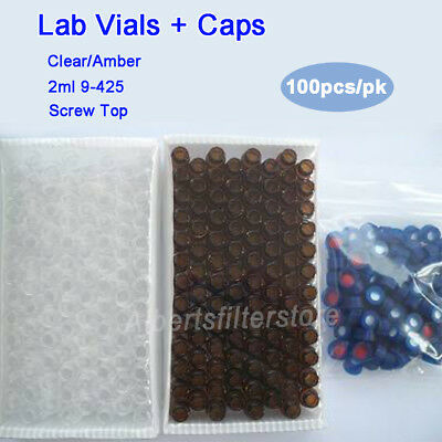 2ml Clear/Amber Lab Vials & Caps for Agilent,Waters,Varian Autosampler 100pcs/pk