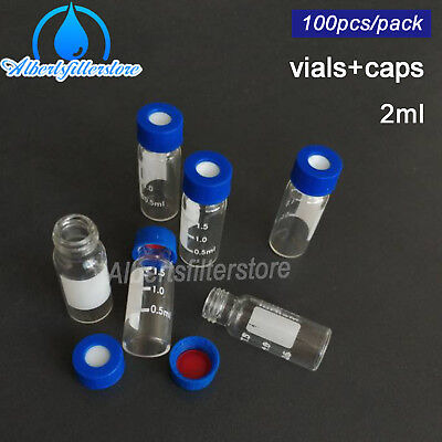 100 pcs Glass Graduated Vial Tube 2ml with Pre-slit Blue Screw Caps Lab Supply
