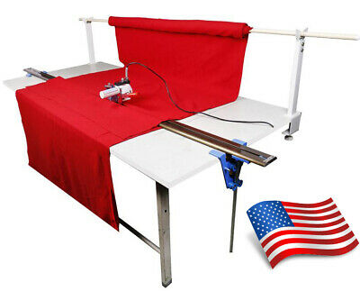"""110V New Model Fabric Cloth Cutter With 86.6"""" Rack and Digital Counter USA"""