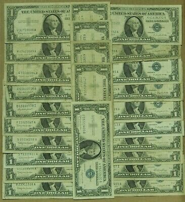 25x $1 Silver Certificate 1935 1957 Lot One Dollar US Currency Cert Notes Star
