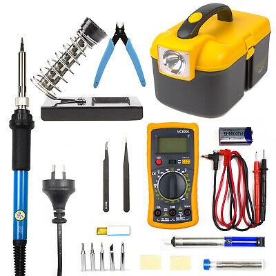 60W Soldering Iron Kit Electronics Welding Irons Tool With Digital Multimeter