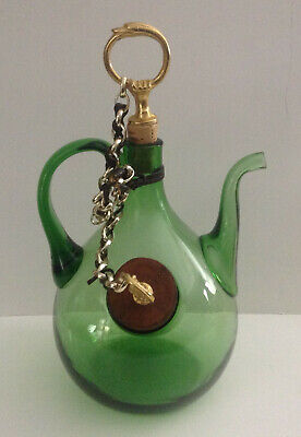 Vintage Italian Green Glass Wine Decanter w/ Ice Chamber