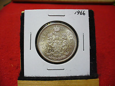 1966  Canada  Silver  Half  Dollar  50 Cent Piece   66  Good Grade