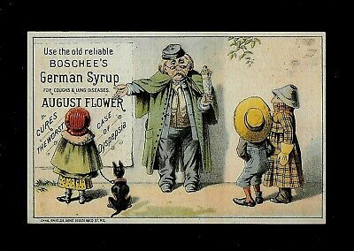Man With Sign for Boschee's German Syrup-1880s Victorian Trade Card