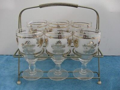 vintage retro 6 Gold gilt pedestal GLASSES in gold metal stand- tray