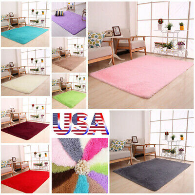 Fluffy Rugs Anti-Skid Home Dining Area Rug Square Carpet Floor Living Room New