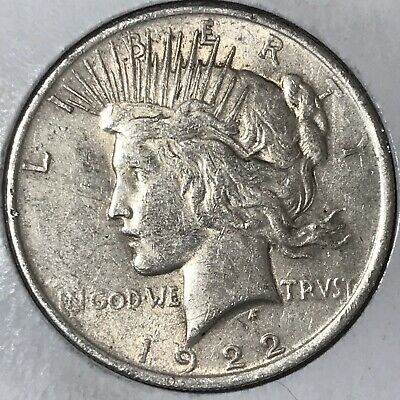"""1922 Peace Silver Dollar! EXTREMELY FINE CONDITION!!! """"BAR""""ON WING VARIETY!!!"""