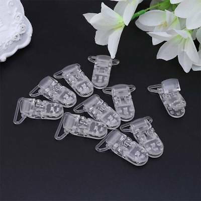 10pcs 25mm Clear Baby Pacifier Badge T Plastic Clips Bib Holder Suspenders Clips