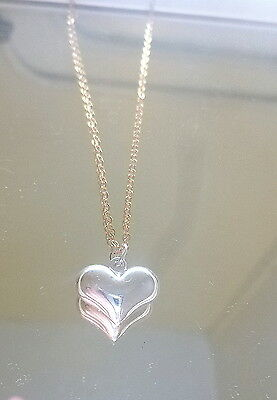 Solid 14k Gold 18 inch chain with Sterling Silver Heart Pendant A+