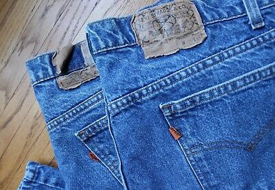 Pair of 2 Vintage Levis 505 Orange Tab Denim Jeans 42x30 Blue Set 1970s Zipper