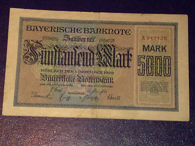 Germany - Bayerish 5000 Mark 1922 -Munich-Very Fine -Large Banknote