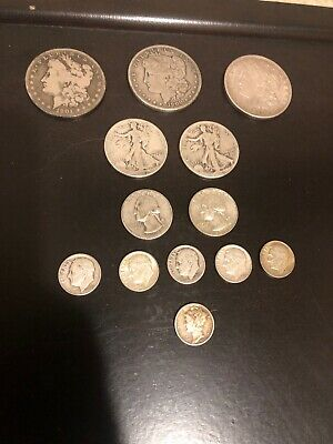 US Coin Collection Lot; $5 Face Value 90% Silver Coins! 3 Morgan's.1900o & 1901o