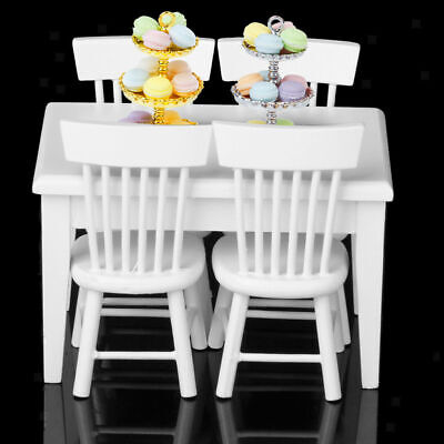 5Pcs/Set 1:12 Doll House Use Miniature Furniture Dining Table&4 Chairs Kids'Gift