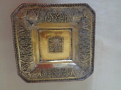 Vintage Persian Islamic Middle Eastern Silver Plate Persepolis Scene Plate Tray