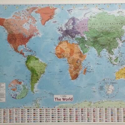 World Map Art Decor Retro Poster Vintage Paper globe earth Tourist Wall Chart