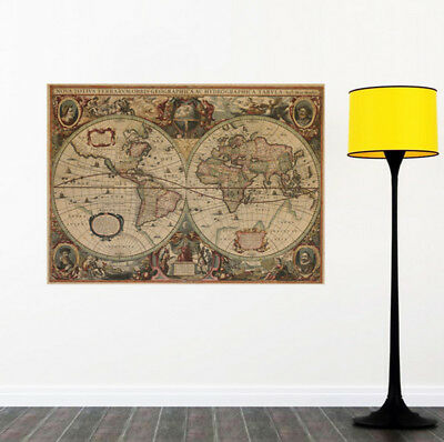 Retro Globe Old World Map 71x50cm Matte Brown Paper Poster Home Decor #NP5