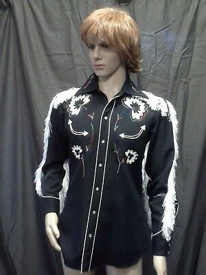 Black western shirt.Embroidery and white fringing.