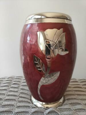 "Cremation Urn for adults - Size Large 10"" Adult - Plum Pearl with Silver Rose"