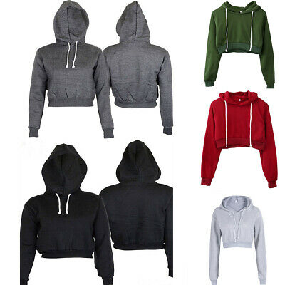 506cd383abc7b7 US Women Cotton Hoodie Sweatshirts Crop Tops Sweater Long Sleeve Sports  Pullover Tops